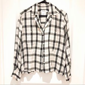 Christian Dior Chemises Cream Black Plaid Shirt 10